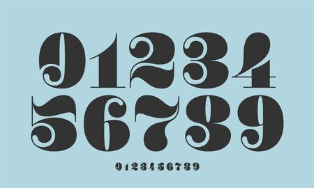 Number font. Font of numbers in classical french didot or didone style with contemporary geometric design. Beautiful elegant numerals. Vintage and old school retro typographic. Vector Illustration 版權商用圖片 - 147411729