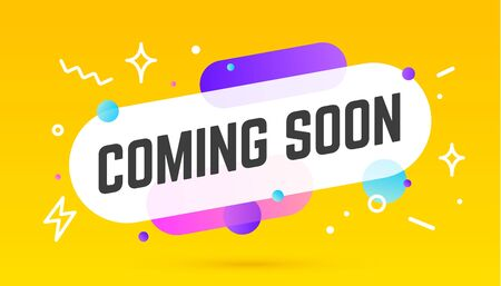 Coming soon, speech bubble. Banner, poster, speech bubble with text Coming soon. Geometric memphis style with message coming soon. Explosion burst design, speech bubble. Vector Illustration 版權商用圖片 - 147183121