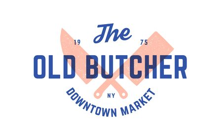 Label  butchery meat shop. Vintage emblem of Butchery meat shop with text Butcher, Market, Meat Shop. Label template for meat business - farmer shop, market or design. Vector Illustration 版權商用圖片 - 147411730