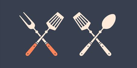 Set of grill tools. Silhouette two bbq tools, grill fork, spatula.  template for meat business - farmer shop, market or design - label, banner, sticker - for grill, bbq. Vector Illustration