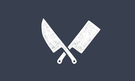 Set of butcher knives icons. Silhouette two butcher knives - Cleaver and Chef Knives.  template for meat business - farmer shop, market, butchery or design, label, sticker. Vector Illustration 向量圖像
