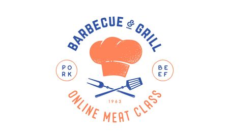 Cooking school class with icon bbq tools, grill fork, spatula, text typography Meat Class, Barbecue, Grill. Graphic  template for cooking cuisine course. Vector Illustration 版權商用圖片 - 147411739