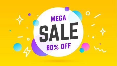Mega Sale, speech bubble. Banner, poster, speech bubble with text Mega Sale. Geometric memphis style with message Sale for banner, poster. Explosion burst design, speech bubble. Vector Illustration