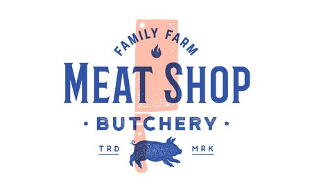 Label of meat shop. Label  with grill butcher chef knife Cleaver, text Meat Shop, Butchery, Farm, pig Piggy. Graphic template for meat business - shop, restaurant, bar, cafe. Vector Illustration 版權商用圖片 - 147411746