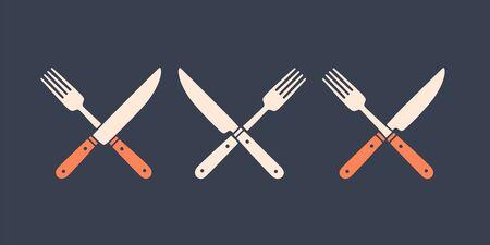Set of restaurant knife, fork. Silhouette two restaraunt tools, knife, fork.  template for food business - restaurant, cafe, food market or design - label, banner, sticker. Vector Illustration