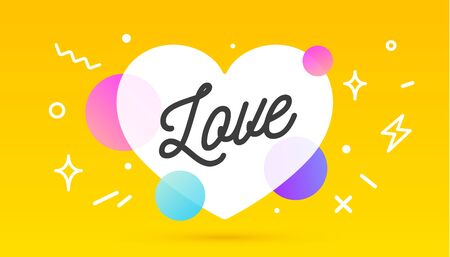 Love, speech bubble. Banner, poster, speech bubble with text Love. Geometric memphis style with message love for banner, poster. Explosion burst design, speech bubble. Vector Illustration