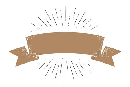 Flag ribbon template. Old school flag banner template. Ribbon flag in vintage style with linear drawing light rays, sunburst and rays of sun, template. Vector Illustration 向量圖像