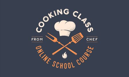 Food logo. Logo for Cooking school class with icon bbq tools, grill fork, spatula, text typography Coocking Class, School, Course. Graphic logo template for cooking cuisine course. Vector Illustration 版權商用圖片 - 147813583
