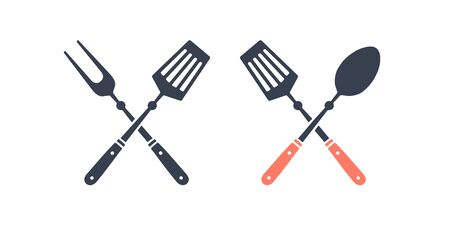 Set of grill tools. Silhouette two bbq tools, grill fork, kitchen spatula. Logo template for meat business - farmer shop, market or design - label, banner, sticker, for grill, bbq. Vector Illustration