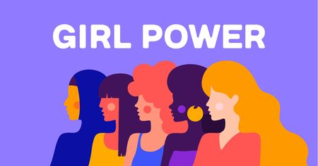 Girl Power. Modern flat character. Simple character of woman lady of different nationalities, races, arab, asian, european, african. Woman character, concept in flat color graphic. Vector Illustration 版權商用圖片 - 147813601