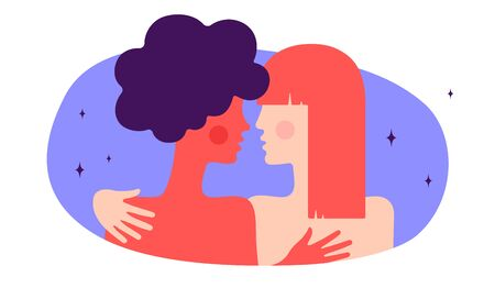 Lesbian couple. Modern flat character. Two women hug each other, romantic love. Homosexual couple freedom lovers, relationships. Concept trendy colorful modern flat graphic. Vector Illustration 版權商用圖片 - 147813602