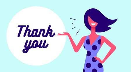 Thank You. Modern flat character. Business office woman with smile, hair, dress speak speech bubble text Thank You. Simple character of businesswoman. Concept in flat graphic. Vector Illustration 版權商用圖片 - 147657857