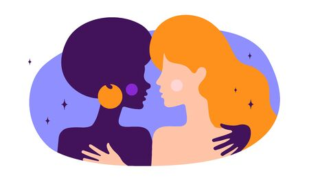 Lesbian couple. Modern flat character. Two women hug each other, romantic love. Homosexual couple freedom lovers, relationships. Concept trendy colorful modern flat graphic. Vector Illustration 向量圖像