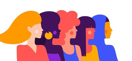 Modern flat character. Simple character of woman lady of different nationalities, races, arab, asian, european, african. Woman character, concept in flat color graphic. Vector Illustration 向量圖像