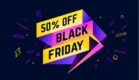 Black Friday. 3d sale banner with text 50 percent Off Black Friday for emotion, motivation. Modern 3d colorful web template on black backdrop. Design elements for sale, discount. Vector Illustration