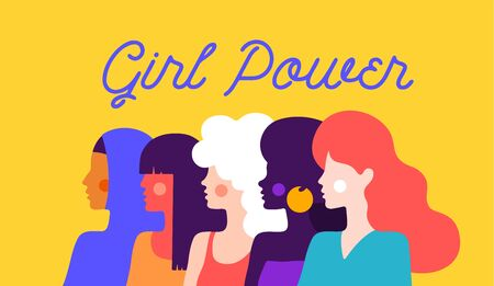 Girl Power. Modern flat character. Simple character of woman lady of different nationalities, races, arab, asian, european, african. Woman character, concept in flat color graphic. Vector Illustration 向量圖像
