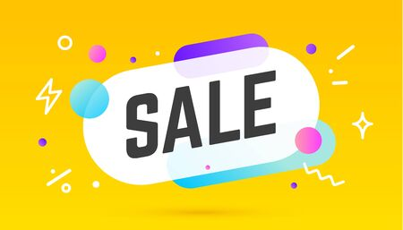Sale, speech bubble. Banner, poster, speech bubble with text Sale. Geometric memphis style with message Sale for banner, poster. Explosion burst design, speech bubble. Vector Illustration 版權商用圖片 - 148873248
