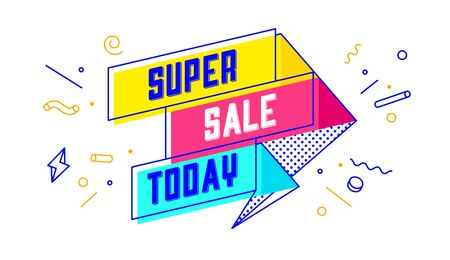 Super Sale Today. 3d sale banner with text Super Sale Today for emotion, motivation. Modern 3d colorful web template on black backdrop. Design elements for sale, discount. Vector Illustration 向量圖像