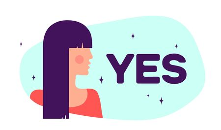 Yes. Modern flat character. Silhouette woman speak speech bubble text Yes. Simple character woman, person, girl. Woman character, concept in flat color graphic. Vector Illustration