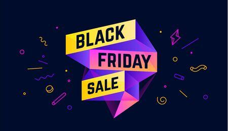 Black Friday Sale. 3d sale banner with text Black Friday Sale for emotion, motivation. Modern 3d colorful web template on black backdrop. Design elements for sale, discount. Vector Illustration 向量圖像