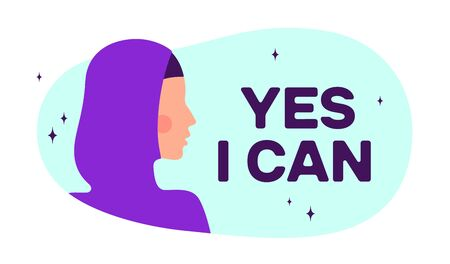 Yes I Can. Modern flat character. Silhouette woman speak speech bubble text Yes I Can. Simple character woman, person, girl. Woman character, concept in flat color graphic. Vector Illustration 向量圖像