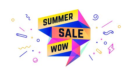 Summer Sale. 3d sale banner with text Summer Sale Wow for emotion, motivation. Modern 3d colorful web template on black backdrop. Design elements for sale, discount. Vector Illustration