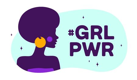 Girl Power. Modern flat character. Silhouette woman speak speech bubble text Girl Power. Simple character woman, person, girl. Woman character, concept in flat color graphic. Vector Illustration 向量圖像