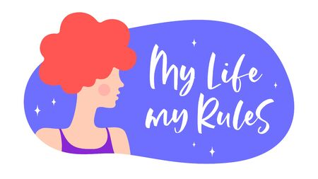 My Life My Rules. Modern flat character. Silhouette woman speak speech bubble My Life My Rules. Simple character woman, person. Woman character, concept in flat color graphic. Vector Illustration 向量圖像