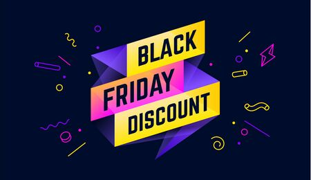 Black Friday Discount. 3d sale banner with text Black Friday Discount for emotion, motivation. Modern 3d colorful template on black backdrop. Design elements for sale, discount. Vector Illustration 版權商用圖片 - 149263089