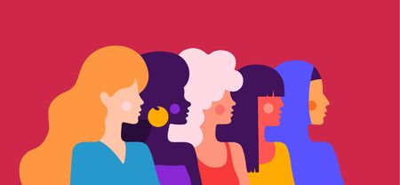 Women silhouette. Modern flat character. Simple character of women of different nationalities, races, arab, asian, european, african. Woman character, concept, flat color graphic. Vector Illustration 版權商用圖片 - 149170444
