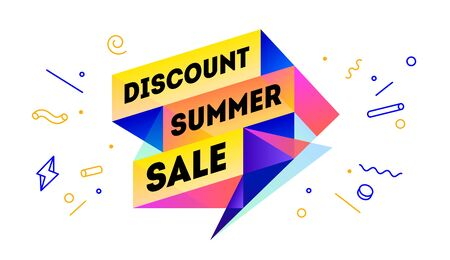 Discount Summer Sale. 3d sale banner with text Discount Summer Sale for emotion, motivation. Modern 3d colorful web template on black backdrop. Design elements for sale, discount. Vector Illustration