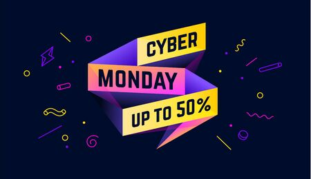 Cyber Monday. 3d sale banner with text Cyber Monday for emotion, motivation. Modern 3d colorful template on black backdrop. Design elements for sale, discount. Vector Illustration