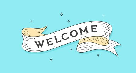 Welcome. Old school vintage ribbon, retro greeting card with ribbon, text Welcome. Old ribbon banner in engraving style. Retro vintage ribbon for banners, posters, web. Vector Illustration 版權商用圖片 - 150543624