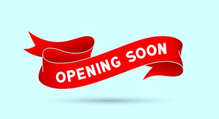 Opening Soon. Red vintage ribbon with text Opening Soon. Red vintage banner with ribbon, graphic design. Old school hand-drawn element for design - banner, poster, gift card. Vector Illustration 版權商用圖片 - 150554934