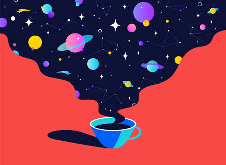 Coffee. Cup of coffee with universe dreams, planet, stars, cosmos. Modern flat illustration. Banner for cafe, restaurant, menu, coffee dreams theme. Color contemporary art style. Vector Illustration 版權商用圖片 - 151380978