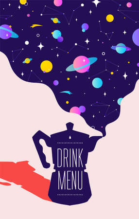 Coffee. Italian coffee pot with universe dreams and text Drink Menu. Modern illustration. Banner for cafe, restaurant, menu, coffee dreams theme. Colorf contemporary art style. Vector Illustration 版權商用圖片 - 151420410