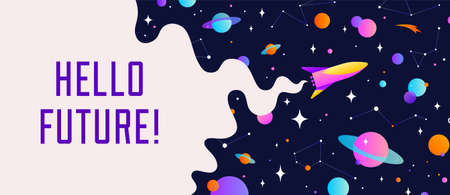 Universe. Motivation banner with universe cloud, dark cosmos, planet, stars and rocket spaceship. Banner template with text Hello Future, universe starry night dream background. Vector Illustration