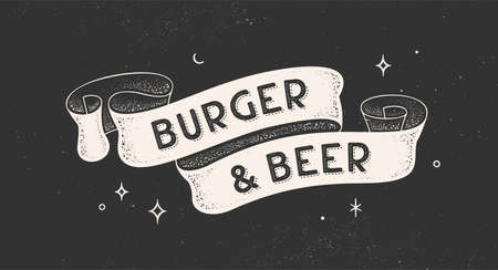 Burger and Beer. Vintage ribbon with text Burger Beer. Black white vintage banner with ribbon, graphic design. Old school hand-drawn element for cafe, bar, restaurant, food menu. Vector Illustration