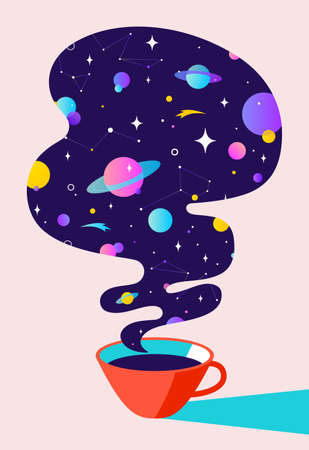 Coffee. Cup of coffee with universe dreams, planet, stars, cosmos. Modern flat illustration. Banner for cafe, restaurant, menu, coffee dreams theme. Color contemporary art style. Vector Illustration 版權商用圖片 - 151487290
