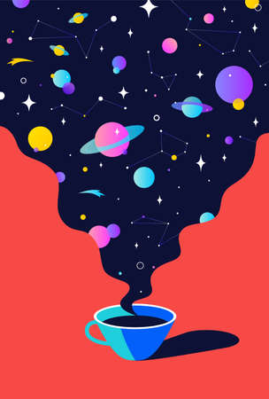 Coffee. Cup of coffee with universe dreams, planet, stars, cosmos. Modern flat illustration. Banner for cafe, restaurant, menu, coffee dreams theme. Color contemporary art style. Vector Illustration 版權商用圖片 - 151872436