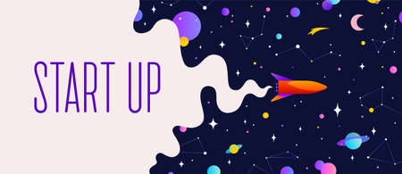 Universe. Motivation banner with universe cloud, dark cosmos, planet, stars and rocket spaceship. Banner template with text Start Up, universe starry night dream background. Vector Illustration