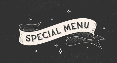 Special Menu. Vintage ribbon with text Special Menu. Black white vintage banner with ribbon, graphic design. Old school hand-drawn element for cafe, bar, restaurant, food menu. Vector Illustration