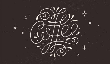 Coffee. Hand-drawn lettering text Coffee on dark black background. Monochrome vintage draw lettering, typographic and calligraphic. Print for food and drink menu, cafe, restaurant. Vector Illustration