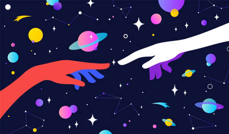 Two hands. The Creation of Adam. Design concept sign Creation of Adam. Silhouette hands of man and god, universe starry night dream background. Colorful contemporary art style. Vector Illustration 版權商用圖片 - 152225281