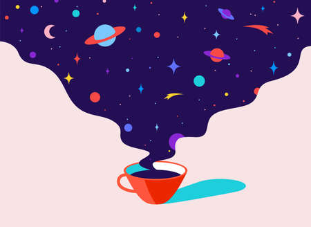 Coffee. Cup of coffee with universe dreams, planet, stars, cosmos. Modern flat illustration. Banner for cafe, restaurant, menu, coffee dreams theme. Color contemporary art style. Vector Illustration 版權商用圖片 - 151921311