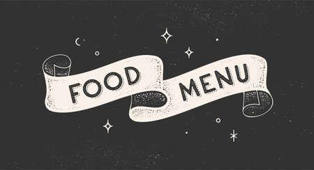 Food Menu. Vintage ribbon with text Food Menu. Black white vintage banner with ribbon, graphic design. Old school hand-drawn element for cafe, bar, restaurant, food menu. Vector Illustration 向量圖像