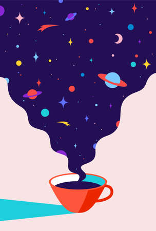 Coffee. Cup of coffee with universe dreams, planet, stars, cosmos. Modern flat illustration. Banner for cafe, restaurant, menu, coffee dreams theme. Color contemporary art style. Vector Illustration 向量圖像