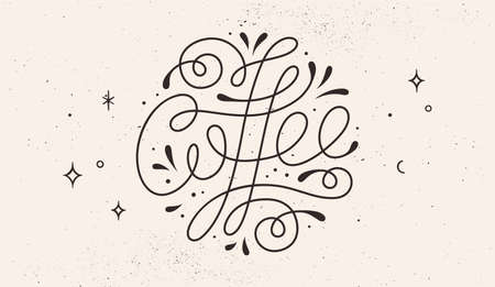 Coffee. Hand-drawn lettering text Coffee on white background. Monochrome vintage draw lettering, typographic and calligraphic.