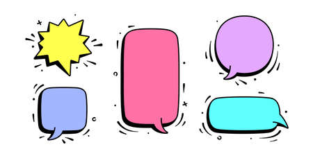 Speech bubble. Set of chat message, cloud talk, speech bubble. Color speech bubble, cloud talk isolated silhouette with text. Elements for chat message, social network, web. Vector Illustration 版權商用圖片 - 152477885