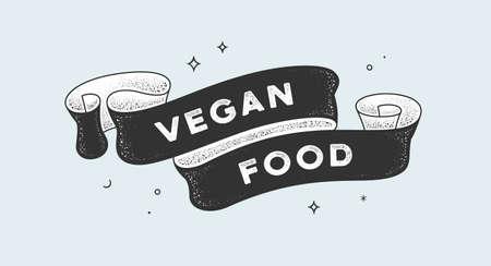 Vegan Food. Vintage ribbon with text Vegan Food. Black white vintage banner with ribbon, graphic design. Old school hand-drawn element for vegan cafe, bar, restaurant, food menu. Vector Illustration